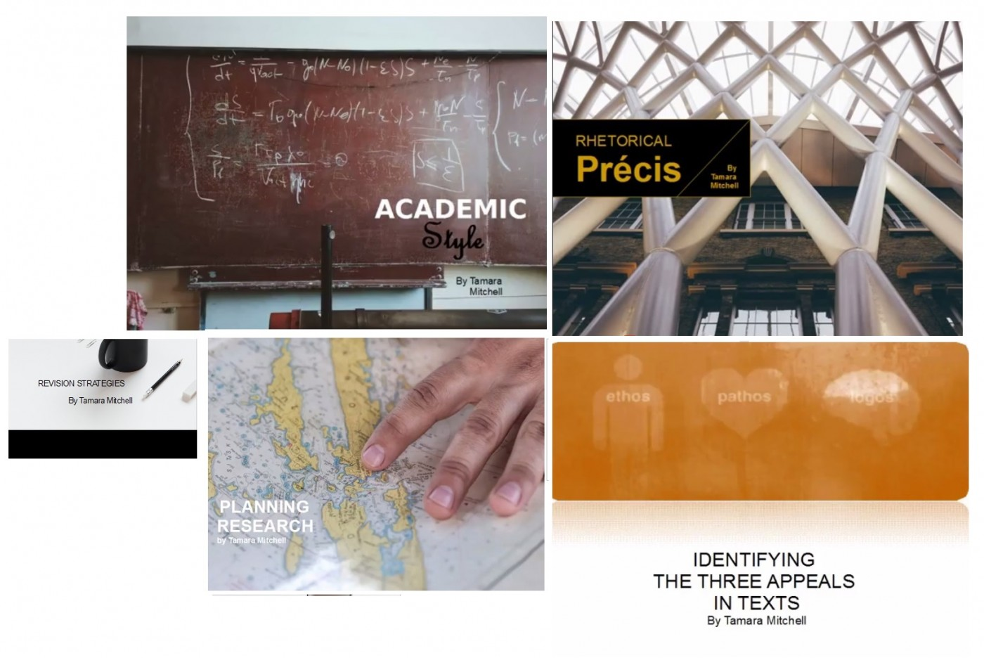 Collage of five academic tutorial introductory images: Academic Style, Rhetorical Precis, Aristotle's 3 Appeals, and Revision Strategies.