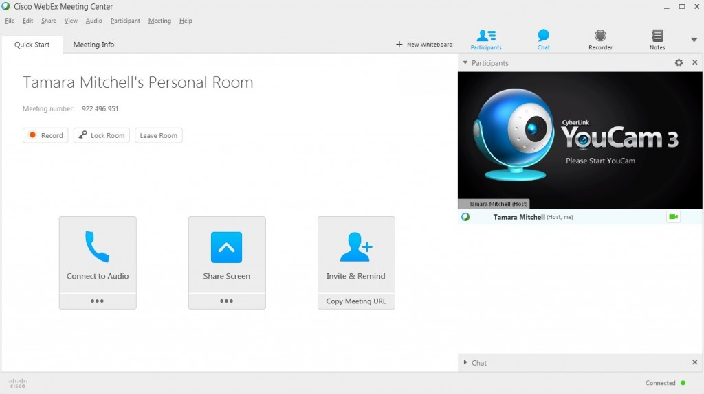 Screen clipping of Tamara Mitchell's WebEx personal room.