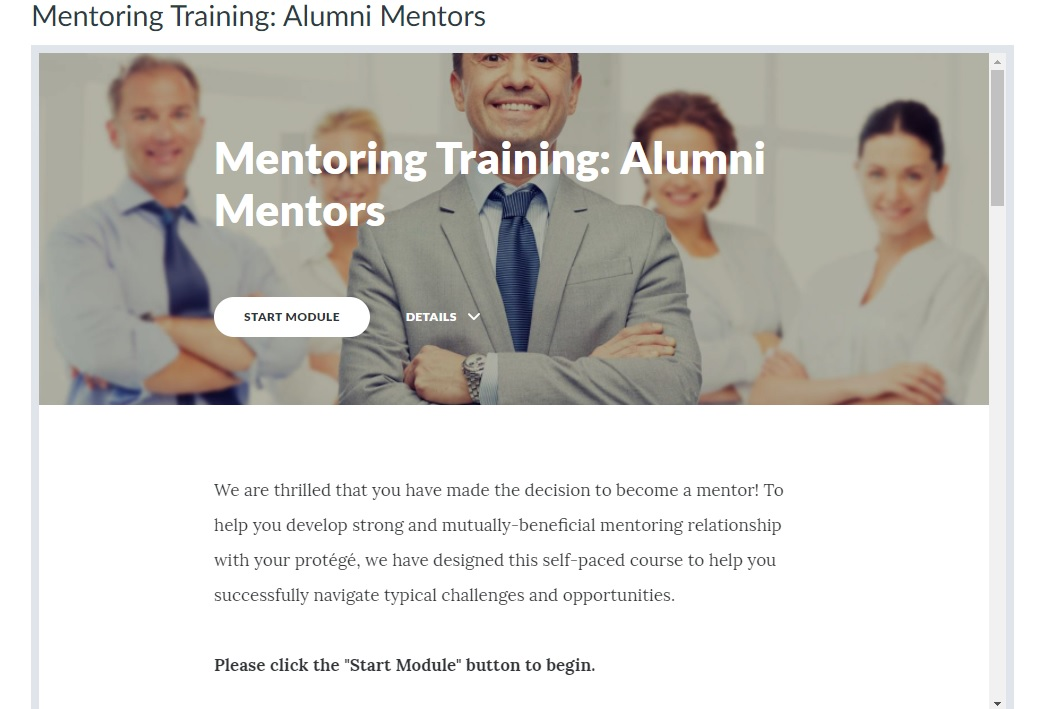 Screen clipping of navigation on the home page of a mentoring course for mentors.