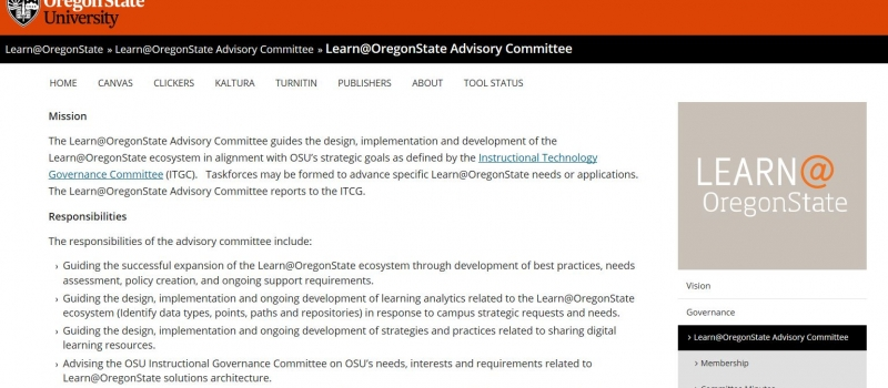 Screen clipping of the Learn@OregonState Committee website.